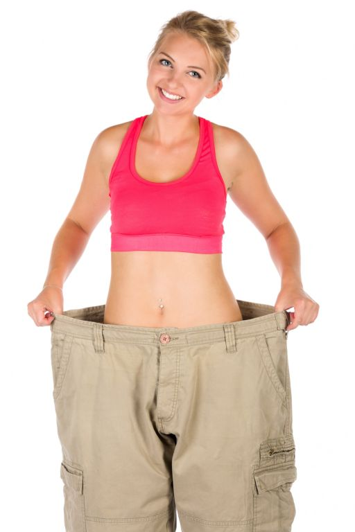 woman happy after losing weight