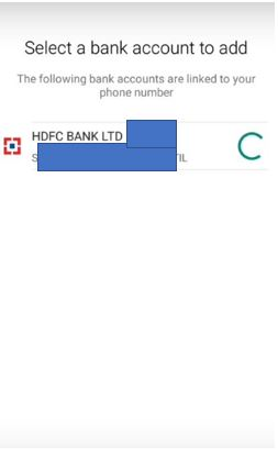 Select bank account to add in Whatsapp payments