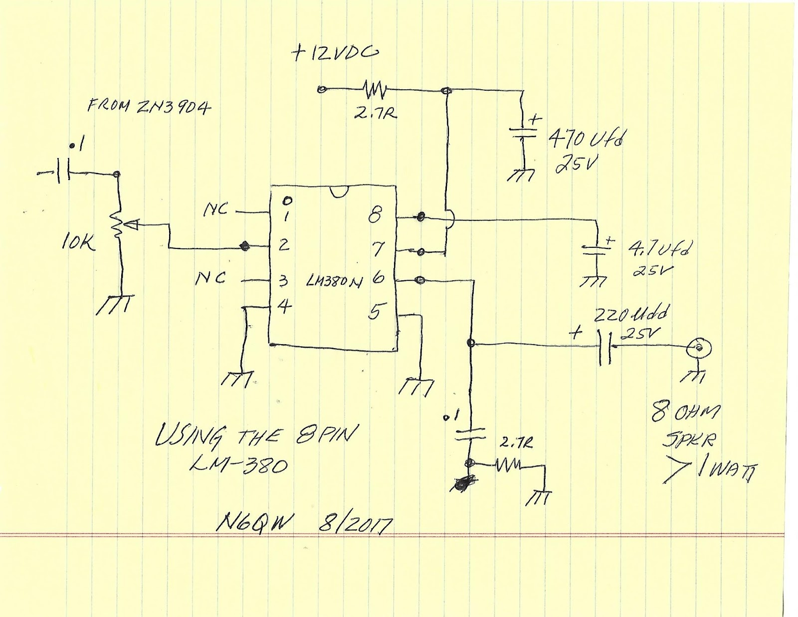 Simpleceiver Plus Circuit Was Constructed With The Use Of Power Audio Amplifier Lm380 There Are No Changes To 2n3904 And Output Is Simply Fed Into Pin 2works Pretty Nicely In Excess 1 Watt