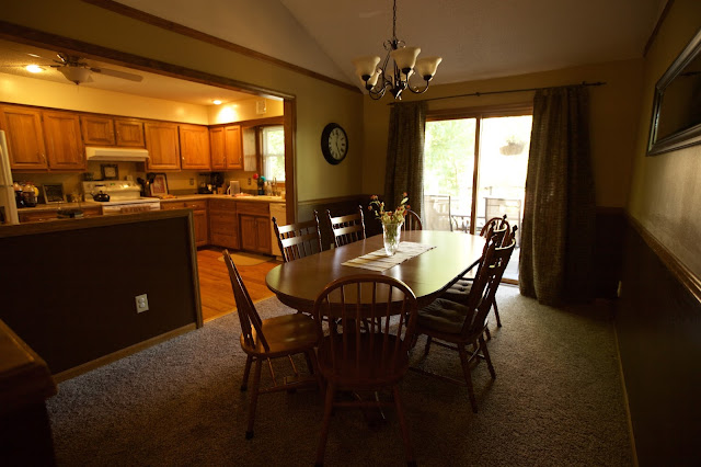 tan and brown dining room