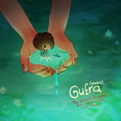 Gufra (palavra arabic) mostra uma imagem de duas mãos deixa de água e uma menina dentro da mãozinha