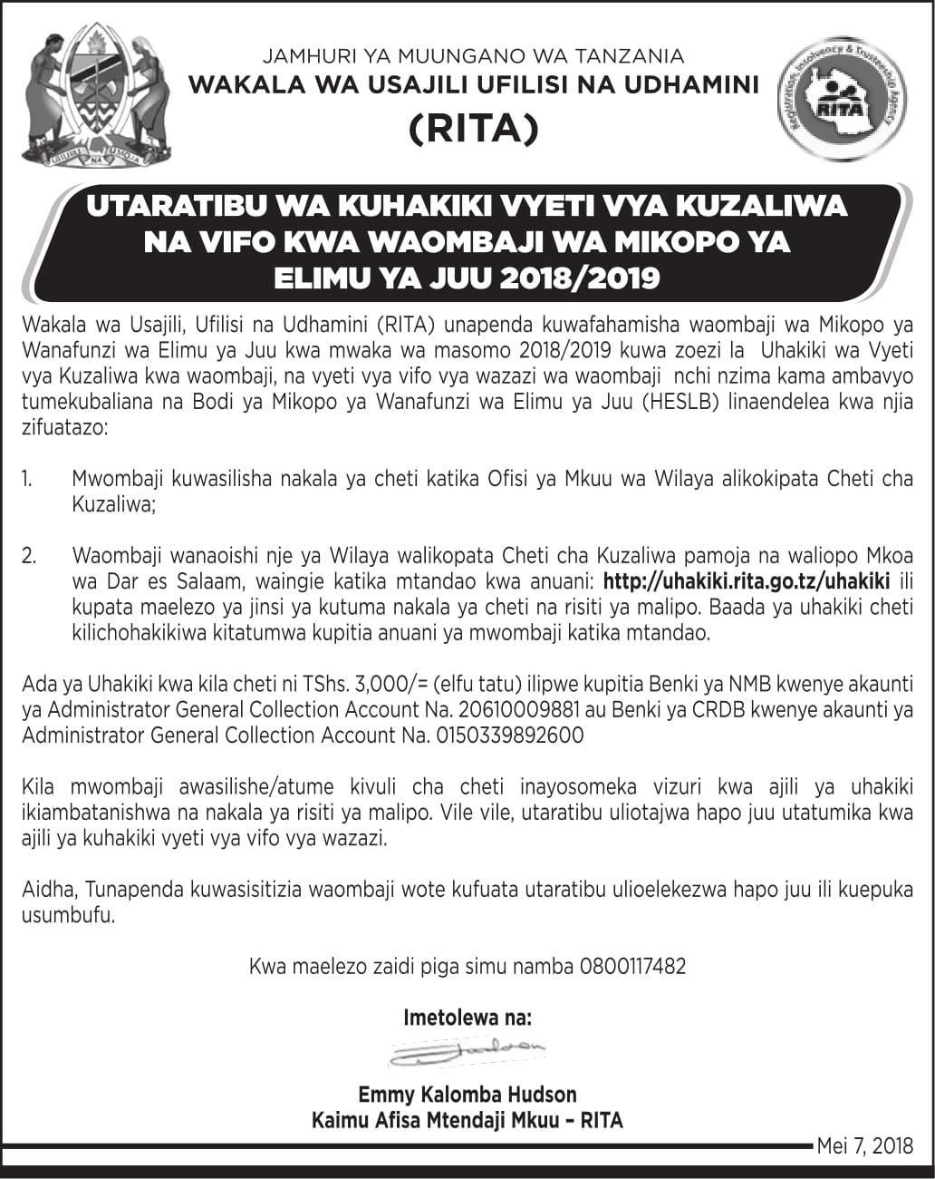 Rita Public Notice About Birthdeath Certificates Verification For