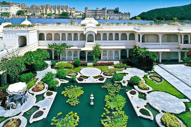 View of the gardens on the inside of the Taj Lake Palace Udaipur