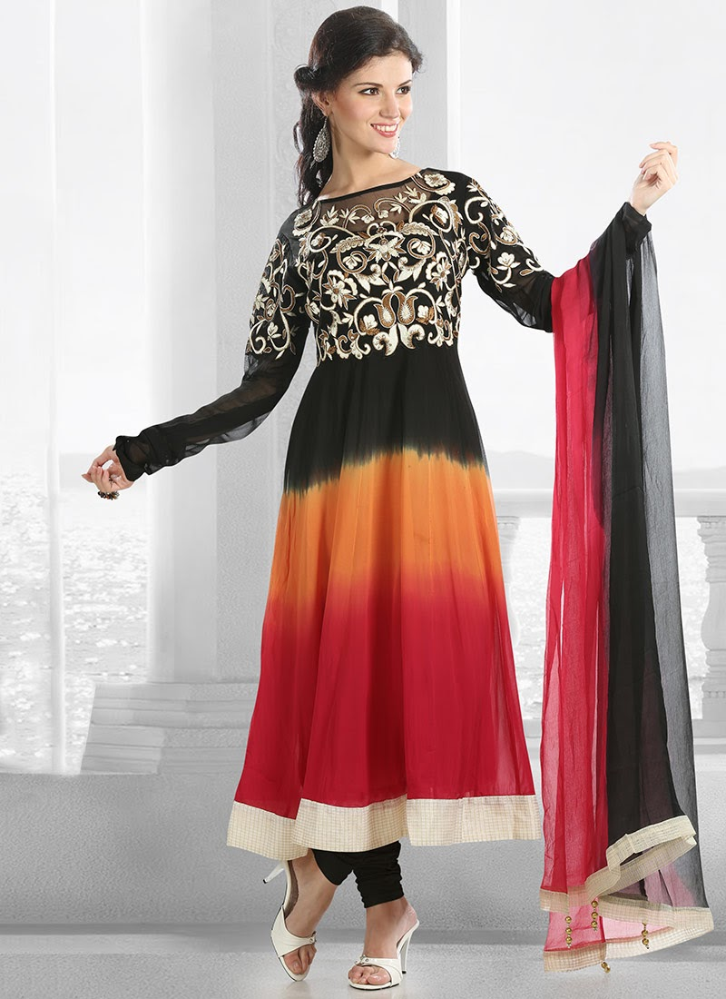 Simple New Designs Of Glamorous Long Anarkali Suits Collection 2014 For Girls - Vega Fashion Mom