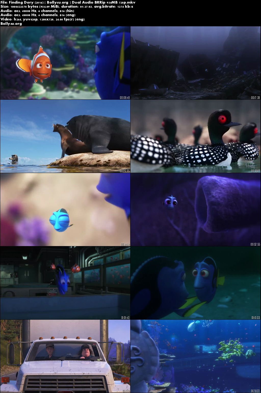 Finding Dory 2016 BRRip 300MB 480p Full Dual Audio Movie Download