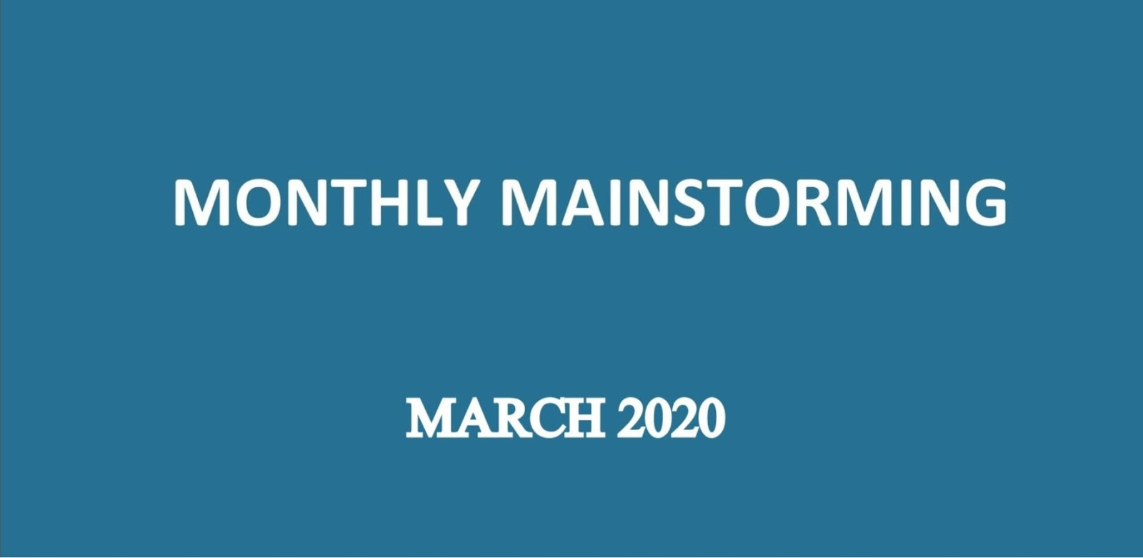 UPSC Mainstorming March 2020
