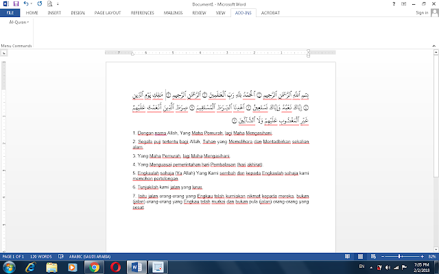 Perisian Al-Quran Word Serta Terjemahan Pada Microsoft Office Word