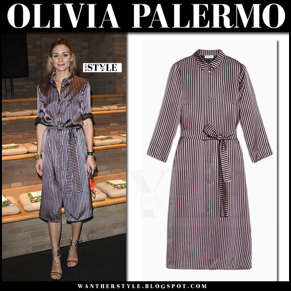 Olivia Palermo in striped red belted satin shirt dress max and co milan fashion week what she wore