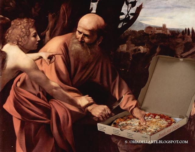 Pizza d'autore- fotomontaggi di dipinti caravaggeschi