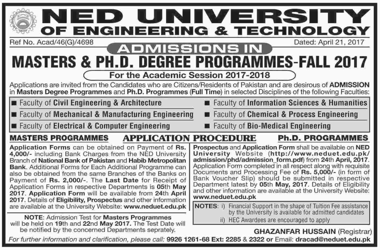 NED University of Engineering and Technology Admissions Fall 2017