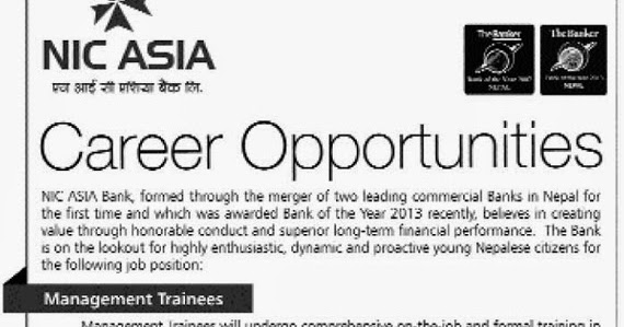 Career Opportunities at NIC ASIA Bank for Management