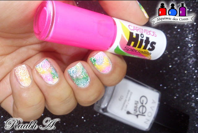 Avon Branco Absoluto, Carimbada Multicolorida, Sugar Bubbles 034, Nail Art, Esmalte Hits para Carimbo
