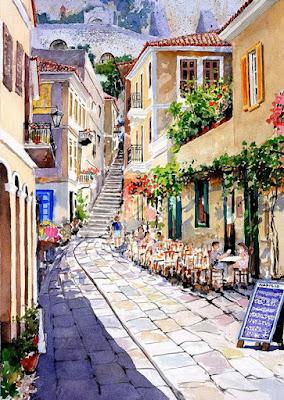 pinturas-portadas-balcones-calles-antiguas-cuadros+zografos-pantelis