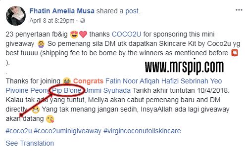 Menang giveaway starter kit COCO2U Nature's Miracle