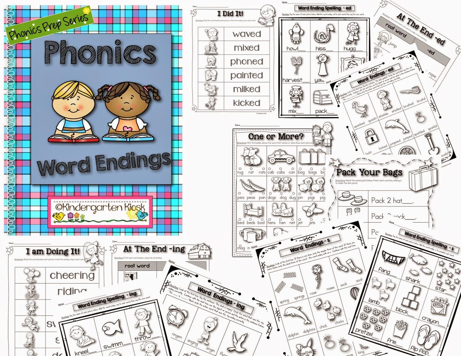 Kindergarten Kiosk Word Endings Worksheets
