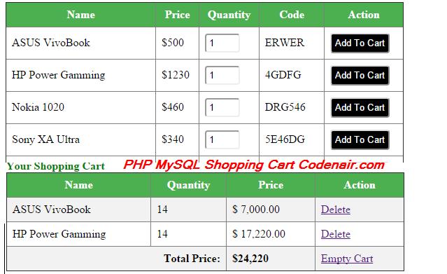 PHP MySQL Shopping Cart