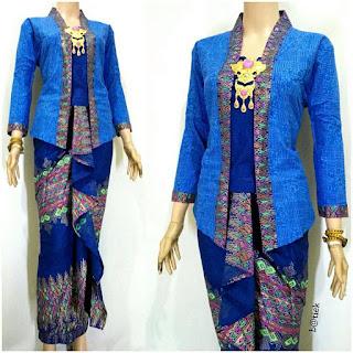 Rok dan Blouse Batik Anisa motif prada biru