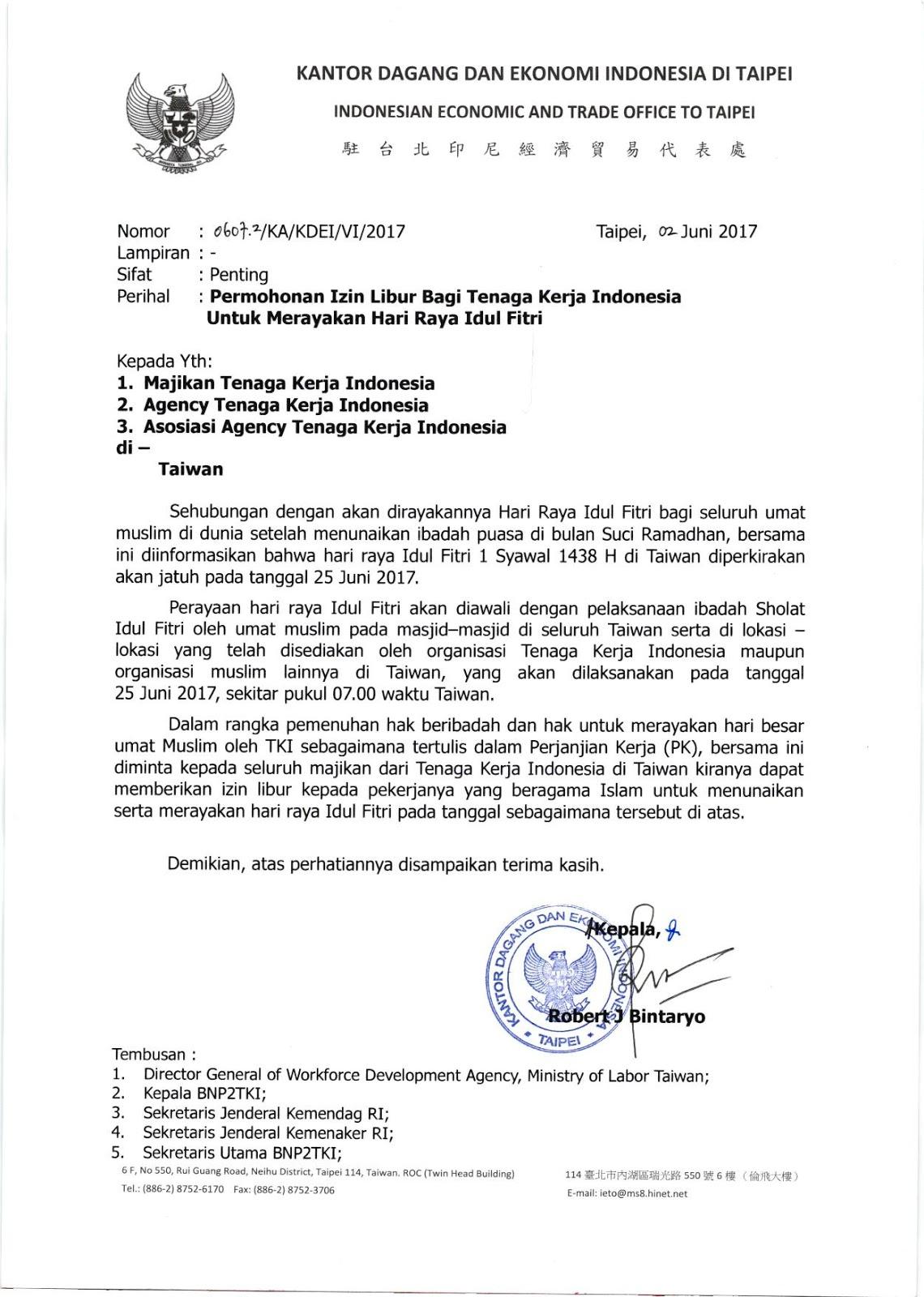 Surat Izin Libur TKI untuk Merayakan Hari Raya Idul Fitri