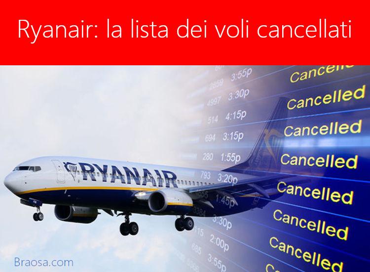 Tutti i voli Ryanair cancellati nel mese di luglio 2018