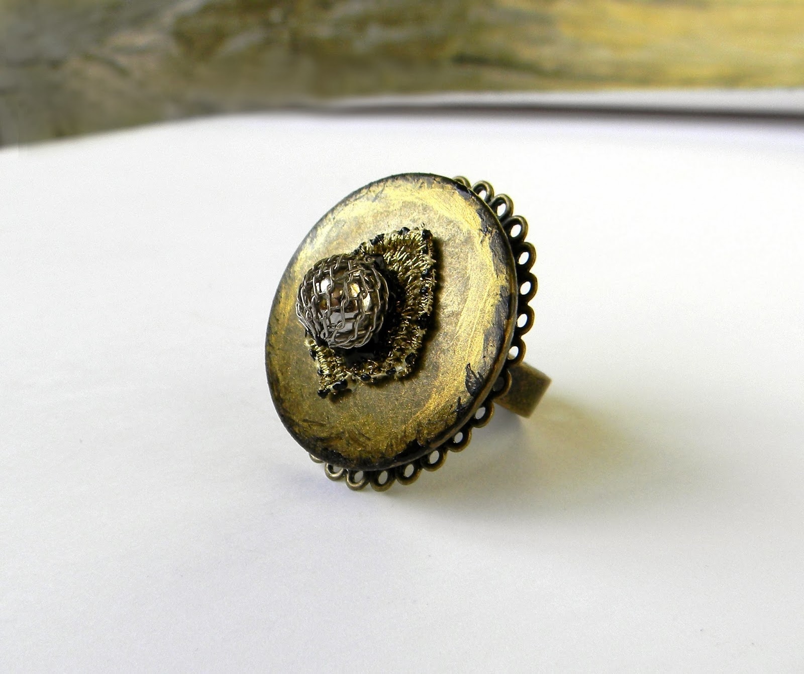 Metal Baroque Bronze Ring Circle Big Ring Marie Antoinette Rococo Statement Posh Ring