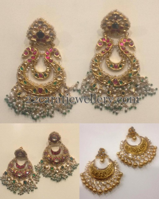 Heavy Chandbalis with Pearls Bunches