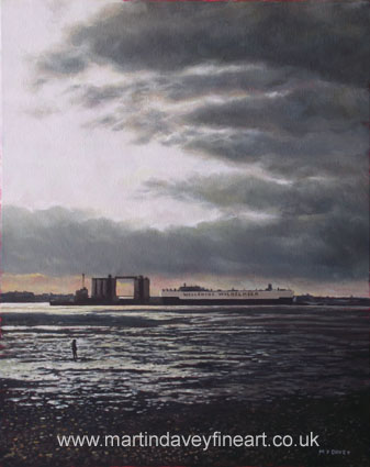 Southampton Docks from Weston shore winter sunset oil painting