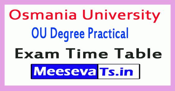 Osmania University OU Degree Practical Exam Time Table
