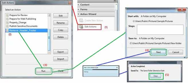 Run action for remove header and footer
