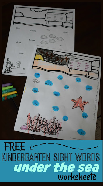 FREE Kindergarten Sight Words Under the Sea Worksheets - this free printable sight words worksheets is such a fun way preschool, kindergartners, and first grade kids to practice reading sight words. These are perfect for summer learning, extra practice, literacy centers, and more