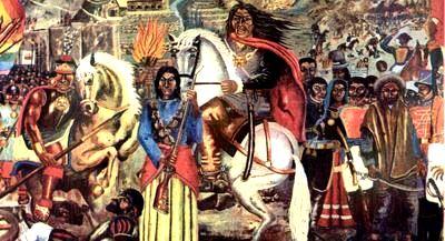 Imagen a la rebelión de José Gabriel Condorcanqui a caballo y con Micaela Bastidas