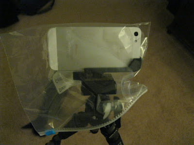 iphone tripod in bag to stay warm