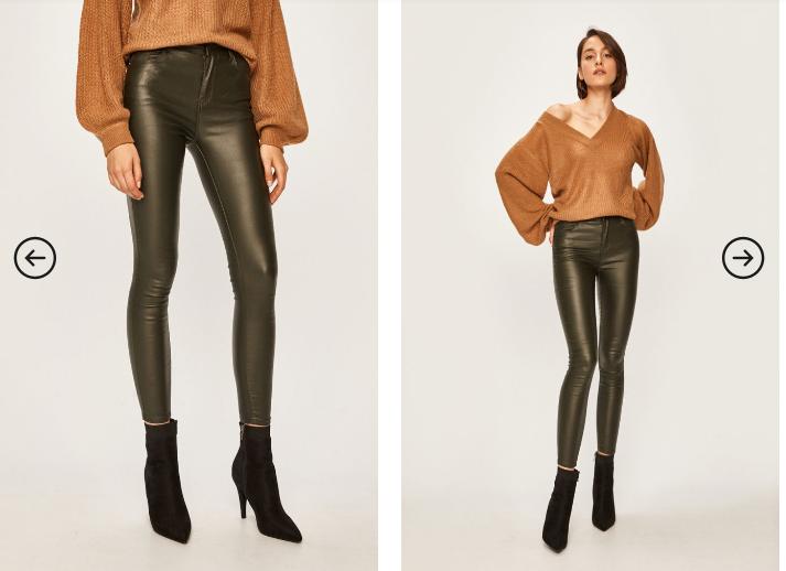 Pantaloni femei verzi ca de piele slim la moda ieftini si frumosi