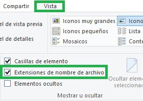 Cómo ver la extensión de un archivo en Windows 10