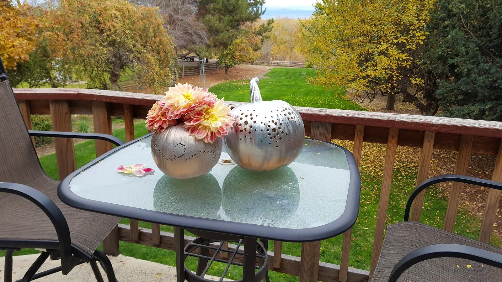 diy metallic painted pumpkins drilled