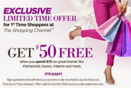 a5a817cb0afa The Shopping Channel $50 Free When You Spend $75 First Time Shoppers Promo  Code