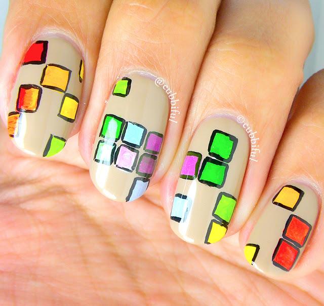 Rainbow Tetris Nails