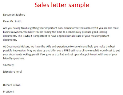 Sample Sales Letter 3000 2012