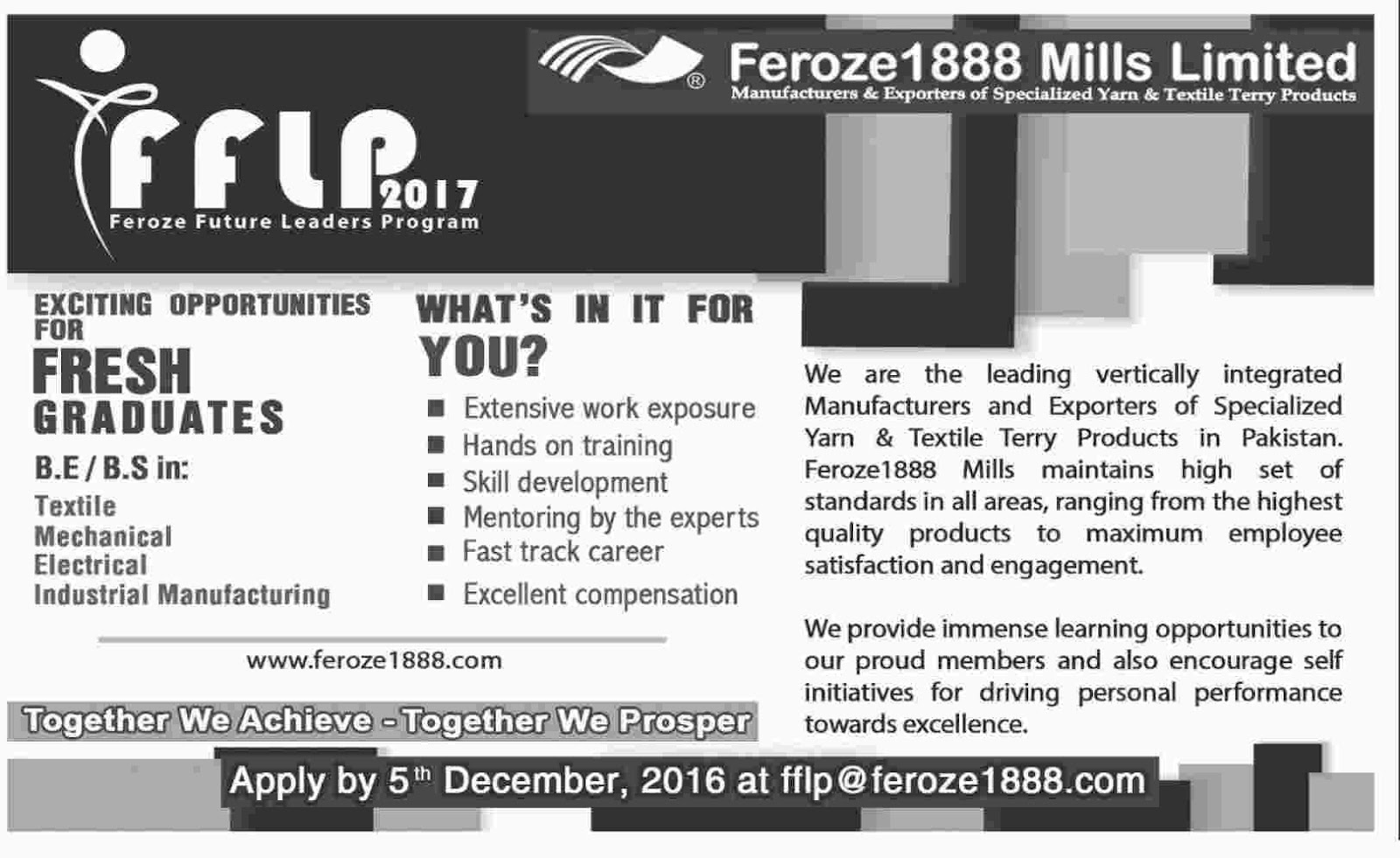 Fresh Graduates Jobs in Feroze Future Leaders Program 2017