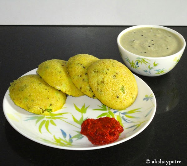 oats idli in a serving plate