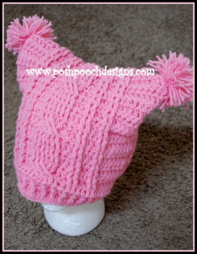 Posh Pooch Designs Dog Clothes Cable Stitch Square Hat With Pom