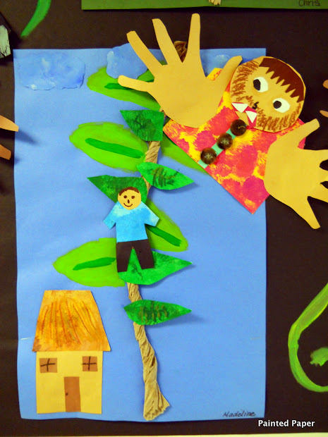 Painted Paper Fe Fi Fo Fum Jack And Beanstalk