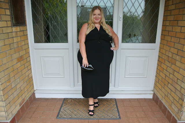 Kiko Red Lipstick & Plus Size Black Dress from Yoek at Navabi for Date Night