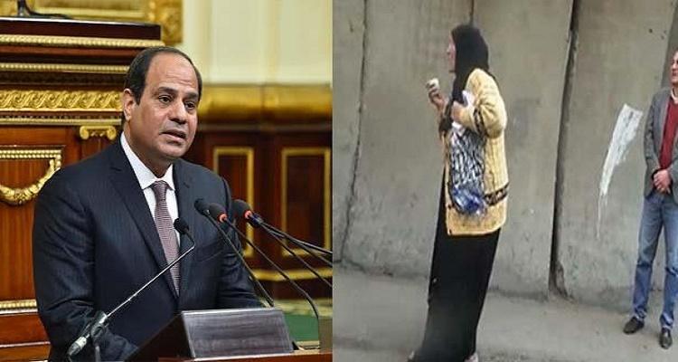 بالفيديو- تصرف غير متوقع من السيسي مع السيدة التي استغاثت به أمام مقر البرلمان