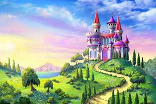 картина сказочного замка на вершине холма