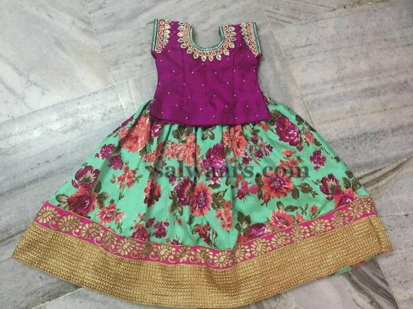 Sea Green Floral Print Lehenga