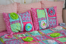 Ruffle Pillow Shams in Hot Pink, Turquoise, and Pink