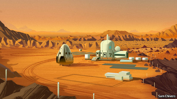 SpaceX Mars base by Sam Chivers