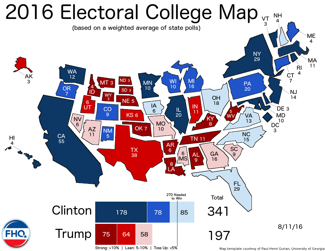 Frontloading HQ The Electoral College Map 81116