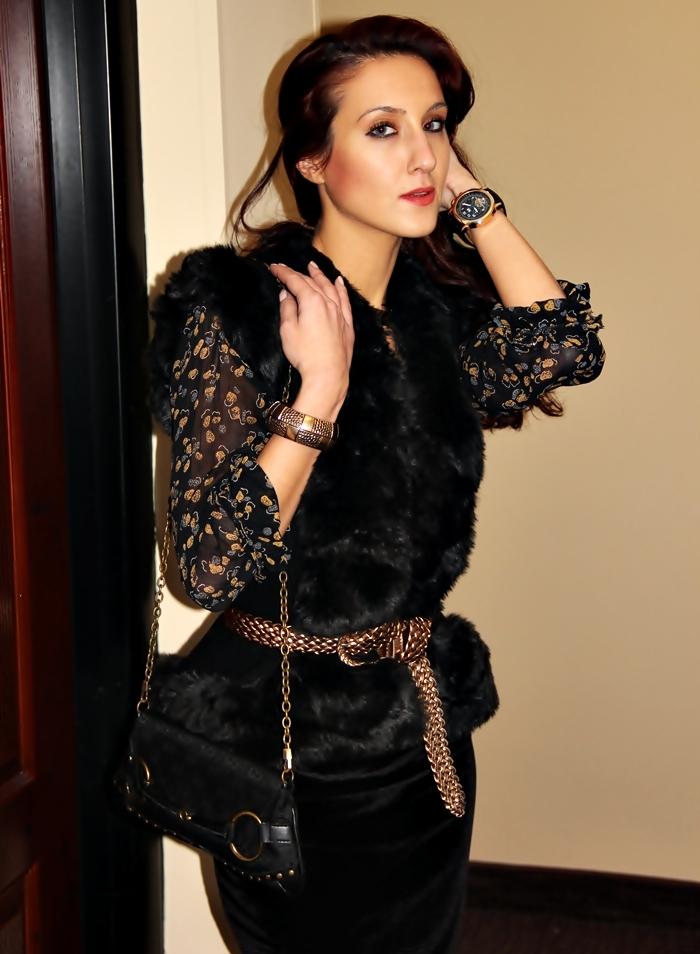 crni pleteni prsluk jakna sa vestackim krznom