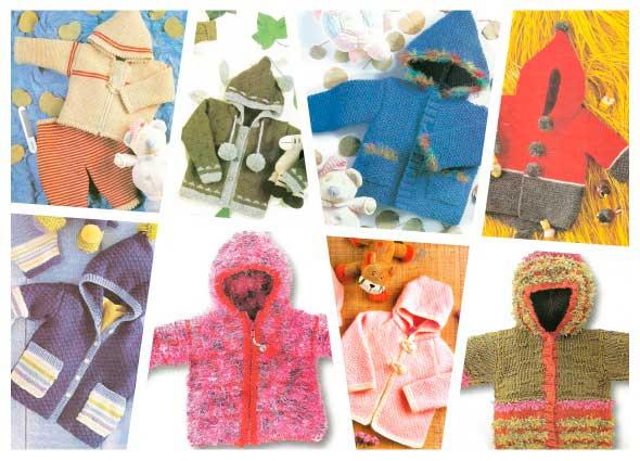 chaquetas con capuchas infantiles a dos agujas y ganchillo